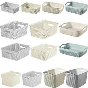 A6 Curver Nestable Plastic Rattan Organiser Storage Hobby Basket Shelf Tray POT