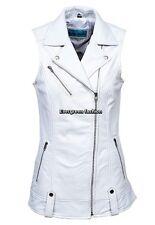 Ladies BRANDO 6385 Waistcoat White Punk Biker Style Motorcycle Leather Jacket