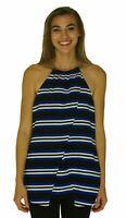Michael Kors Women's Striped Crisscross Chain Neck Tank Top Blue Black