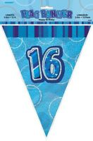 GLITZ BLUE FLAG BANNER 16TH BIRTHDAY 3.6M/12' BIRTHDAY PARTY DECORATION