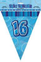 GLITZ BLUE FLAG BANNER 16TH BIRTHDAY 3.6M/12' BIRTHDAY PARTY DECORATION