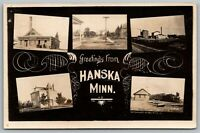 Hanska MN~Mini Views~Railroad Depot~Flour Mill~Atlas Concrete Works~1911 RPPC