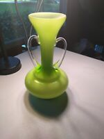 Green and white art  Glass vase with handles