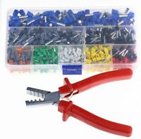 800Pcs Cable Wire Terminal Connector With Crimper Plier Crimp Tool AWG 23-10 Kit