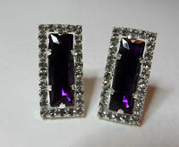BEAUTIFUL ART DECO STYLE PURPLE & CLEAR CRYSTAL CLIP EARRINGS SILVER PLATED