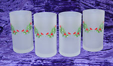 Christmas Glass Tumblers Cerve Holly Berry 4 Holiday Frosted Winter Red Green