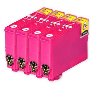 4 Magenta Ink Cartridges for Epson Expression Home XP-202 XP-30 XP-322 XP-412