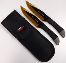 "2pc Gold & Black 9"" Jack Ripper Throwing Knife Set w/ Sheath Dagger Kunai"