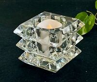 Baccarat Crystal Arlequin Votive Candle Holder New Mint Signed With Box Gorgeous