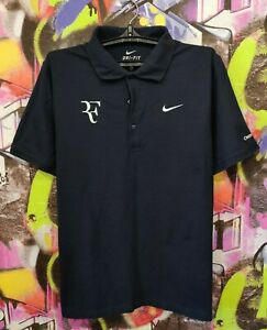 Roger Federer Tennis Polo Shirt Jersey Top Nike Mens size L Excellent Condition