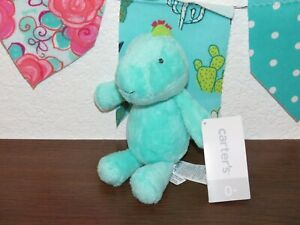"NWT Carters Aqua Green Dinosaur Dragon Blue Spike 7"" Plush Rattle Lovey Baby Toy"