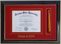 DIPLOMA FRAME WITH TASSEL BLACK (CUSTOMIZABLE) 8 WIDE x 6 HIGH DIPLOMA  SIZE