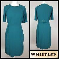 Whistles Teal Sheath Panel Half Belt Shift Dress Size 10