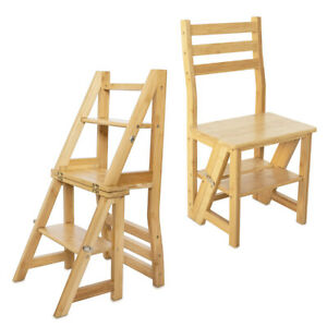 Bambus Faltstuhl mit Leiter Funktion Stuhl 3-Stufen Trittleiter und Blumenleiter
