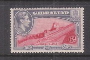 GIBRALTAR 1938 KGVI perf. 13 1/2, 6d. Carmine & Violet, hhm.