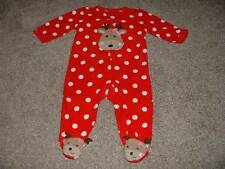 Just One You Carters Fleece Christmas Reindeer Pajamas Sleeper Size 9M 9 Months