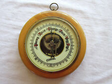 Vintage Colonial Barometer Glass Brass Wood Wall Hanging Made in Western Germany