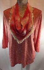 Style & Co Sweater Womens L Orange Coral Art Affair 3/4 Sleeve Detachable Scarf