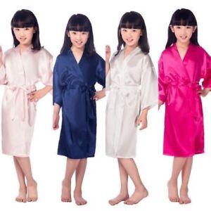 Wedding Flower Girls Children Kimono Robe Nightwear Dress Satin Gown