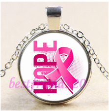 Hope Breast Cancer Cabochon Glass Tibet Silver Chain Pendant Necklace#CE79