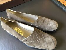 SALVATORE FERRAGAMO AMADEA  TAUPE SUEDE QUILTED CLASSIC LOAFERS SHOES  9 1/2 2A