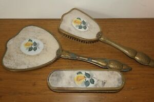 Vanity Set Mirror + brushes - lace under celluloid - decorative gold handles