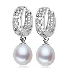 Zucht Süßwasser Perlen Zirkonia 925 Sterling Silber Ohrringe Creolen Ahhänger