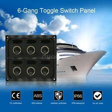 12-24V Car Boat Marine 6-Gang Toggle Switch Panel Fuse Kits LED Light Waterproof