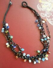Vintage Necklace 6 Strands art glass Beads crochet woven thread ARTISAN
