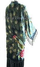 Jacket Kimono Opera Coat Silk Burnout Velvet Beaded Peacock Black Maya Matazaro