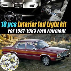 10Pc Car Interior LED Super White Light Bulb Kit for 1981-1983 Ford Fairmont