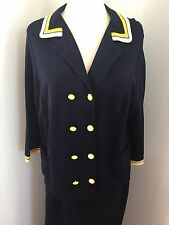 Vintage 60s Acrylic Two Piece Sailor Skirt Blouse Jacket Set Navy Large
