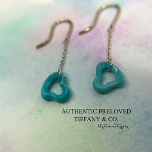 Authentic Tiffany & Co Elsa Peretti Turquoise Dangling Earrings Silver Retired