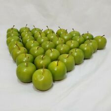 """Lot 35 Apples Green Artificial Faux Fruit 1"""" with Stems Plastic Small"""