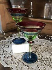 Set of 2 Pier One Martini Glasses Red Green Blue Colorful Drinking