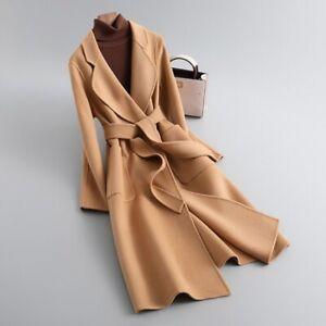 Winter Women's Double-Faced Cashmere Coat Long Wool Jacket Outerwear Belt 33652