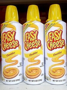 Nabisco Kraft Easy Cheese Squeeze Can Cheddar Flavor ( 3 cans )