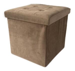 Ottoman Storage Box Padded Velvet 38cm Folding Footstool Storage Seat Pouf Brown