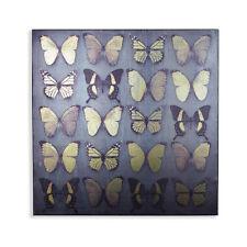 Black Butterflies Butterfly Metallic Gold Black Canvas Wall Art Picture Hanging