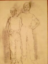 """""""Two Friends""""- Two Boys, in Dungarees & T-Shirts- Drawing-1963-August Mosca"""