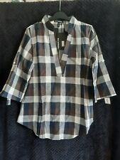 BNWT Womens UK 10 Brown Plaid Shirt Blue Grey Casual Loose Relaxed Comfortable
