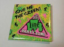 Vintage Neon 80's Miller Lite Pin PInback Button St. Patricks Day Party Zone