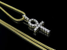 Men's 10k Yellow Gold Ankh Cross Genuine Diamond Pendant Chain Combo 0.34ct