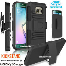 Armor Hybrid Case Cover with Belt Clip Holster Stand For Galaxy S6 Edge Black
