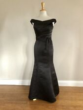 Black Satin Formal Dress Off The Shoulder Size 10 Fishtail Fit And Flare Style