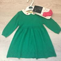 New Ex M*S Baby Girls Green Floral Winter Knitted Jumper Dress & Tights Set