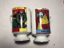 Vtg Coffee Mug Royal Crown Footed Astrology Zodiac Aquarius Taurus Wedding Gift