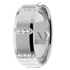 Womens Diamond Wedding Rings 0.36 Ctw Mens Diamond Wedding Band 10K Gold 8mm