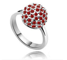 Engagement Bridal Silver Red Crystal Disco Ball Rings large size 8 / Q FR91