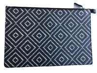 SALVATORE FERRAGAMO Pebbled Art Deco Buck Calf LEATHER Zipper Case CLUTCH BAG